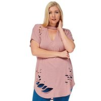 Womens Plus Size Ripped Cut Out Plain Short Sleeve T Shirt Pink