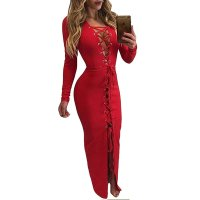 Red Lace up Front Long Evening Cocktail Dress