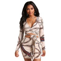 Long Sleeve Digital Print Bandage Shirt + Mini Skirt
