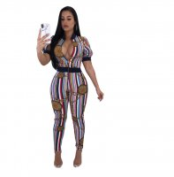 Whitney Colorful Striped Chain Jumpsuit