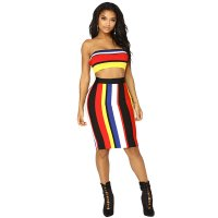 Trendy Bateau Neck Striped Red Two-piece Skirt Set