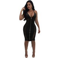 PU Indira Lace Up Zipper Midi Dresses