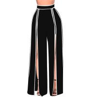 Woman Ladies High Slit straight-leg Pants