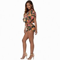 Floral Printing Crop Set With Hooded