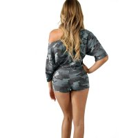 Dew Shoulder Camouflage Two-piece Shorts Set With Half Sleeves