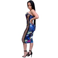 Junie Laced Side Print Midi Dress (Navy)