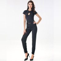 Hottie Little Black Cut-out Short Sleeves Tops and Pants