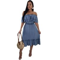 Stitching Off Shoulder Denim Ruffles Dress