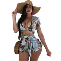 Tropical Strappy Cropped Layered Ruffles Shorts Set