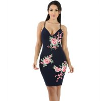 Royal Blue Embroidery Flower Straps Dress