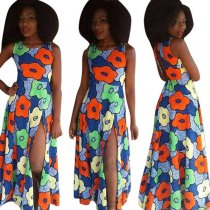 Flower Printed Maxi Dress L51336