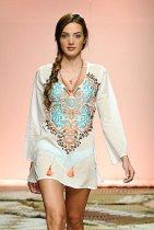 V-neck Embroidered Beach Dress L38480