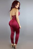 Red Backless Jumpsuits L55258-1