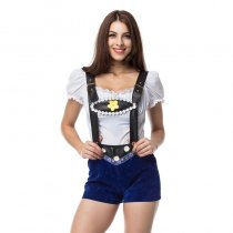 Sexy White Top and Suspender Shorts Bavarian Beer Girl Costume