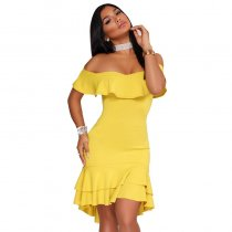Chandra Yellow Ruffle Dress