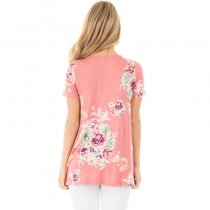 Women's Floral Print Short Sleeve V Neck T-Shirt Blouses