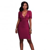 Wine Red Deep V Neck Mesh Lace Sexy Bodycon Bandage Dress
