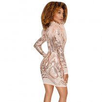 Sexy Round Neck Sequins And Fur Decoration See-Through Rose Mini Dress