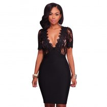 Black Deep V Neck Mesh Lace Sexy Bodycon Bandage Dress