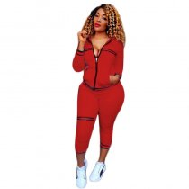 Trendy Zipper Up Casual Pantsuit With Hooded