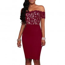 Wine Red Strapless Lace Printed Dresses