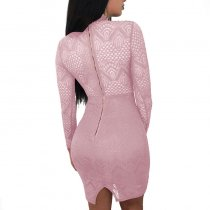 Sexy Women Long Sleeve Lace Hollow Out Clubwear