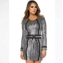 Silver And Black Sequin Dress