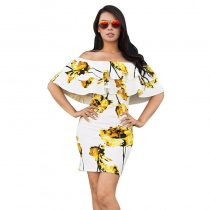 Off Shoulder Flounced Flower Slim Dress