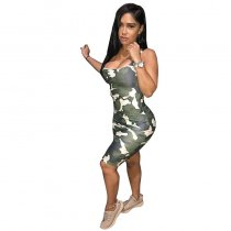 Lovely Sexy U neck Sleeveless Camo Printed Dress