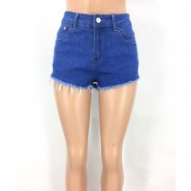 Embroidered Sexy High Waist Washed Denim Shorts
