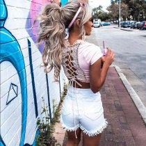 White Short Jeans With Ruffle Trims