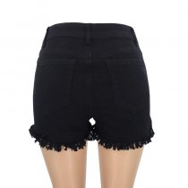 Black Short Jeans With Ruffle Trims