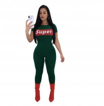 5 Colors Letter  Super  Print Sportive Jumpsuit With Short Sleeve