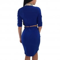 Half Sleeves Office Dress With Turn-down Collar