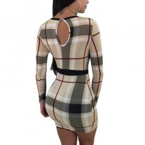 Sexy Checks Bodycon Dress With Long Sleeve