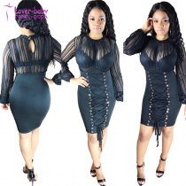 Long Sleeve Mesh Midi Bandages Dress