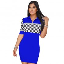 Zip Me Up Plaid Mixed Color Bodycon Dress