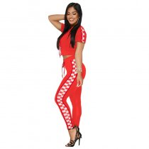 Hooded Sport Racing Plaid Two Piece Set