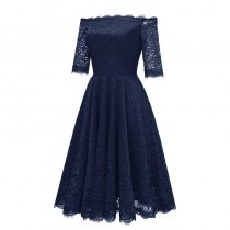 Off Shoulder Lace A-Line Dress With Half Sleeves