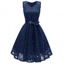V-Neck Lace Sleeveless A-Line Evening Dress
