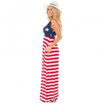Womens Casual Sleeveless Flag Print Stars And Stripes Maxi Dress