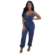 Sling Deep V Denim Jumpsuit