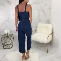 Wide Straps Denim Jumpsuit