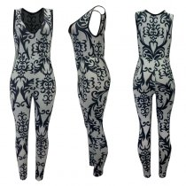 V Neck Sleeveless Print Jumpsuits