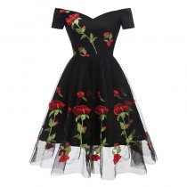 Romantic Rose Flower Lace Black Party Dresses