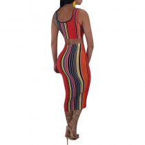 Colorful Stripped Vest and Under-Knee Skirt
