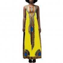 Dashiki Print Gathered Maxi Dress - Vlisco African Print