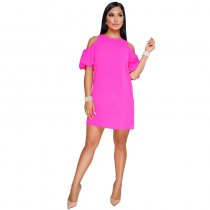 Butterfly Sleeve O Neck Sequin Plus-Size Dresses