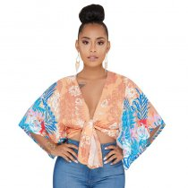 Fashion V Neck Batwing Sleeves Floral Printed Orange Shirts
