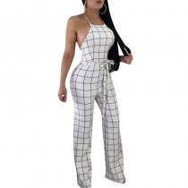 Sexy Checks Halter Plaid Jumpsuit With Open Back
